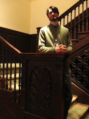 Joseph Shetler, museum assistant on duty in the original House (photo by Claire Norman)