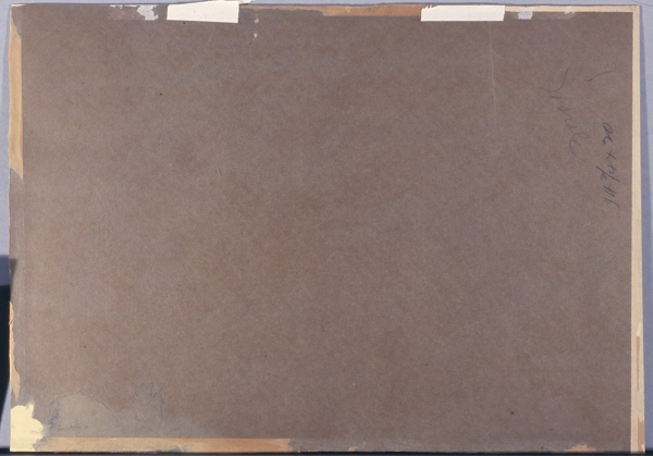 Verso (reverse side), seen before removal of the acidic backing.
