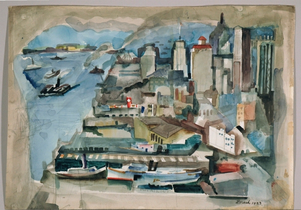 "Recto (front), before treatment. William Zorach (b. Eurburg, Lithuania, 1887; d. Bath, Maine, 1966). New York Harbor, 1923. Watercolor on Paper. 15 1/4""x21 1/2"" signed and dated, bottom right corner"