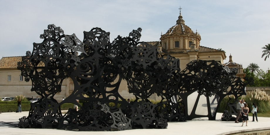 """Matthew Ritchie, """"The Morning Line"""" (installation view, Seville, Spain), International Biennial of Contemporary Art of Seville, October 2, 2008 - January 11, 2009. Photo by German Leal. Courtesy of the artist and Andrea Rosen Gallery, New York."""