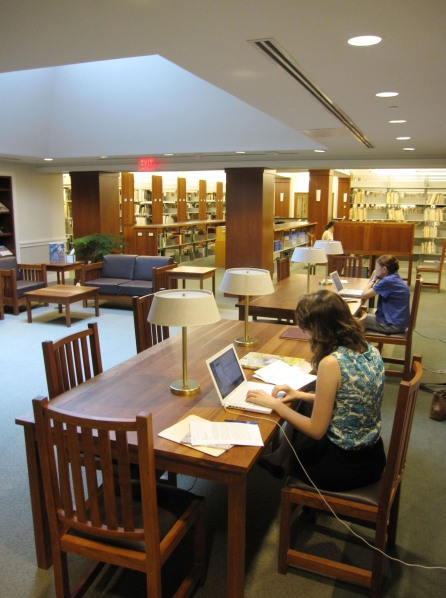 Researchers using the library, August 2010.