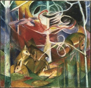Franz Marc, Deer in the Forest I, 1913. Oil on canvas. 39 3/4 x 41 1/4 in. The Phillips Collection