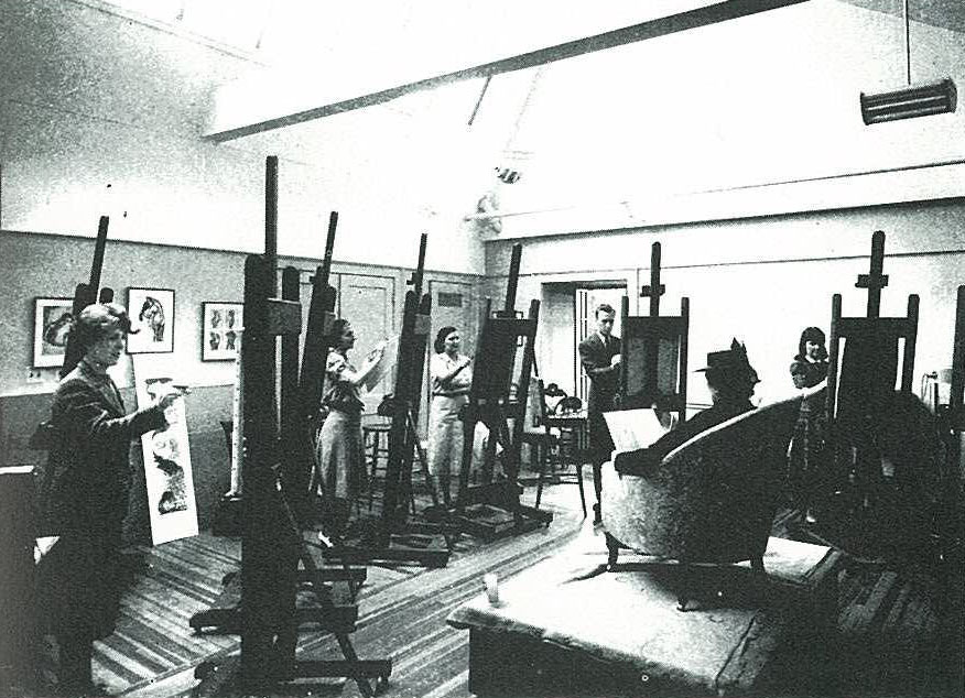 Phillips Gallery Art School, fourth floor of original house, c. 1930s. The Phillips Collection Archives.