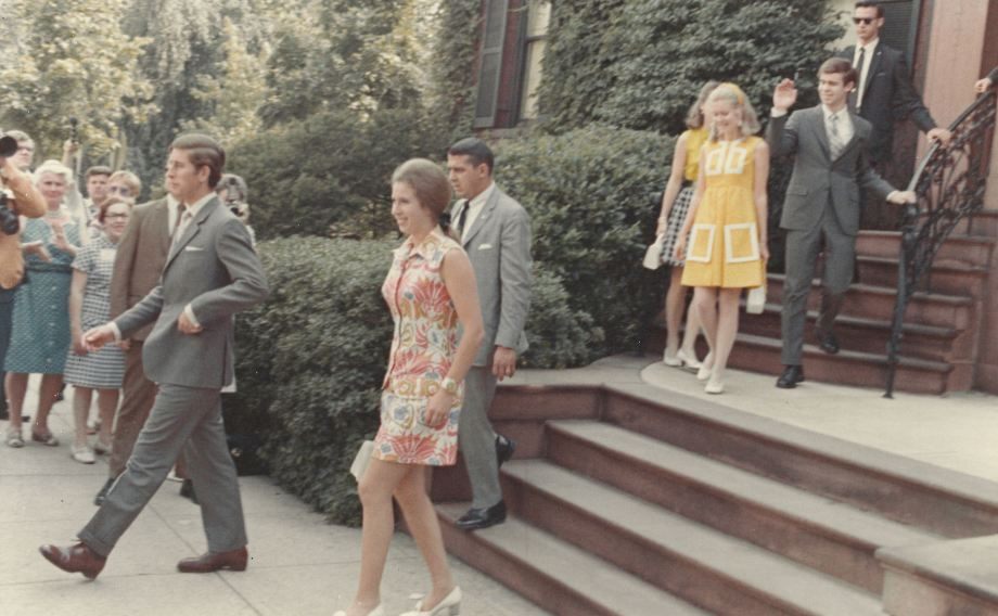 The distinguished party leaves the Phillips. From left to right: Prince Charles, Princess Ann, unidentified, Tricia Nixion, and David Eisenhower. Photo from The Phillips Collection Archives.
