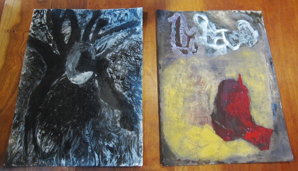 Two drawings made with Chinese ink, egg yolk, and other media on watercolor paper.