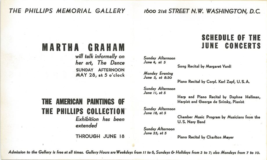 22.	Phillips Memorial Gallery, Martha Graham will talk informally on her Art, The Dance, 1944. (From The Phillips Collection Archives)