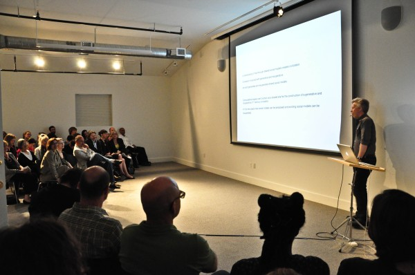Artist Matthew Ritchie on April 27 during his Conversation at the Center for the Study of Modern Art (Photo by Benjamin Resine for Red Bell Photo)