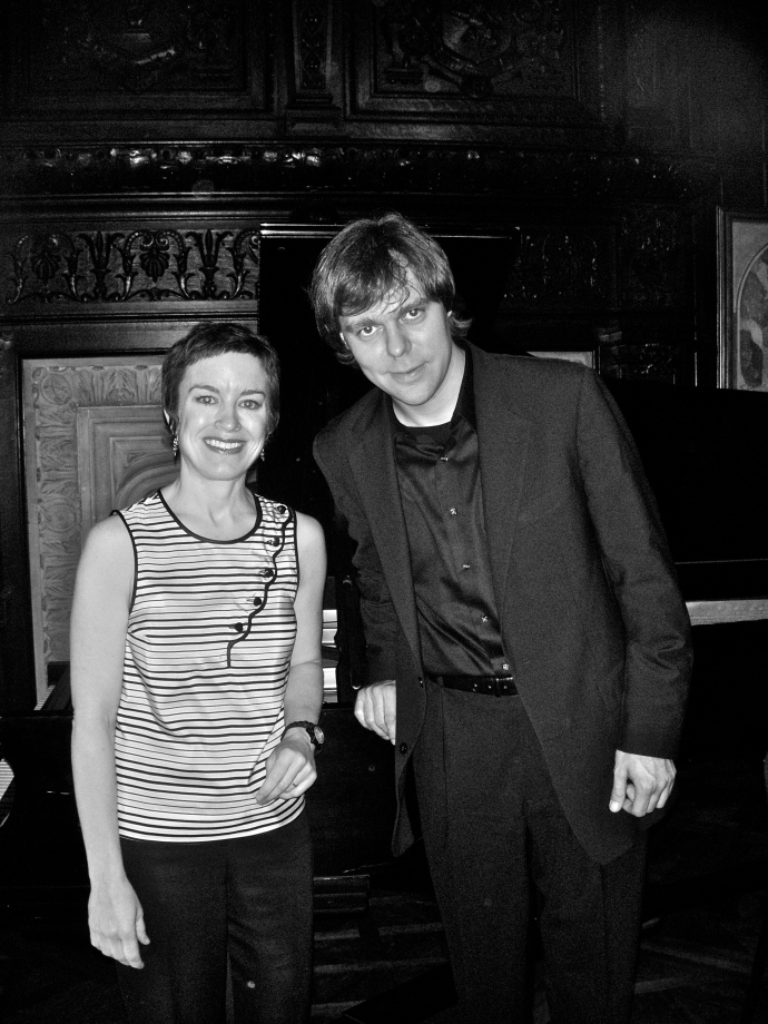 Music Director Caroline Mousset with pianist Andrius Zlabys (Photograph by Casey Fox Smith)