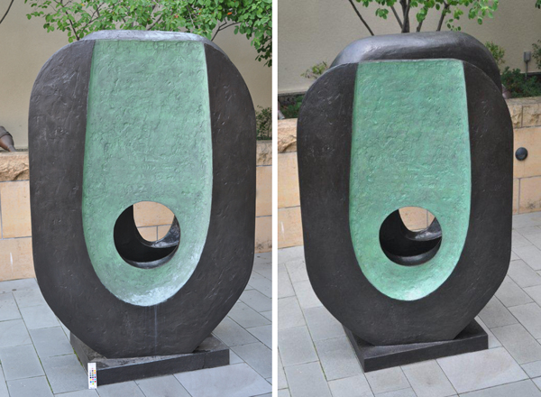 Before cleaning (left) and after (right). Cleaning is especially evident on the base and under the round opening. (Photos by Constance Stromberg)