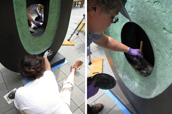 Conservators clean Barbara Hepworth's Dual Forms. (Photos by Sarah Osborne Bender)