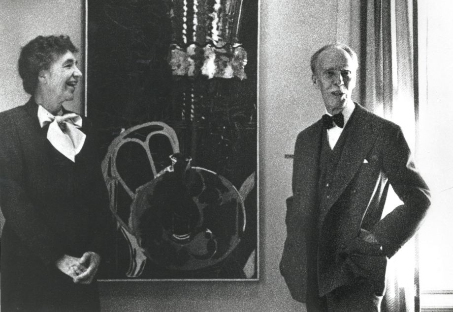 Marjorie and Duncan Phillips stand with Georges Braque's The Philodendron, 1954. (Photo by Naomi  Savage)