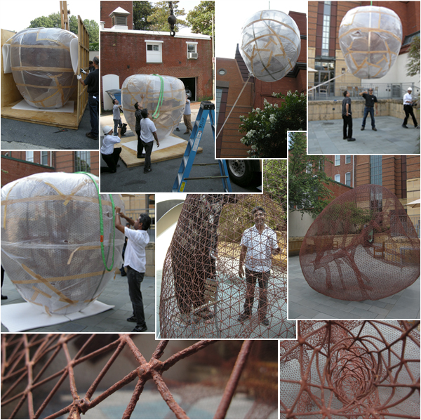 The second part of Bala's sculptural installation arrived in the Hunter Courtyard this morning after a long journey. The artist oversaw the delivery and installation. Photos by Trish Waters and Sarah Osborne Bender.