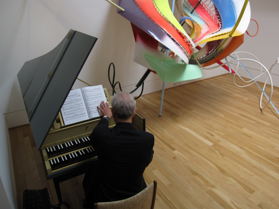 Harpsichordist Steven Silverman rehearsing today in the gallery beside Frank Stella's exciting K.43 (lattice variation) protogen RPT (full-size). Photo by Sarah Osborne Bender.