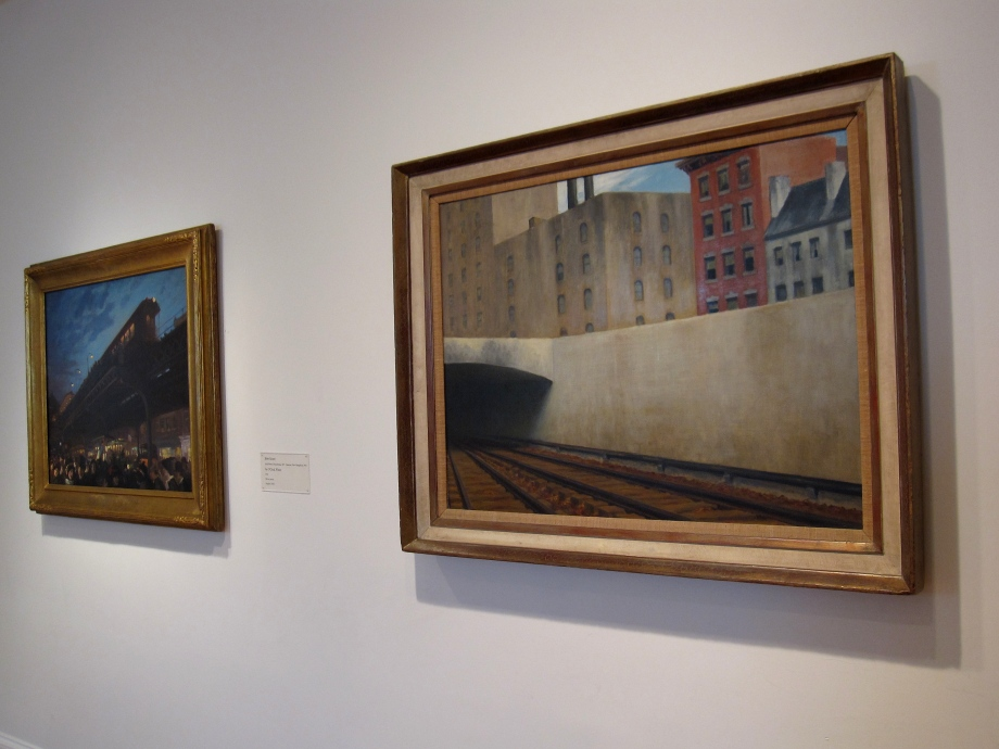 (Left) John Sloan, Six O'Clock, Winter, 1912, Oil on canvas; 26 1/8 x 32 in.; 66.3575 x 81.28 cm.. Acquired 1922. (Right) Edward Hopper, Approaching a City, 1946, Oil on canvas; 27 1/8 x 36 in.; 68.8975 x 91.44 cm. Acquired 1947.
