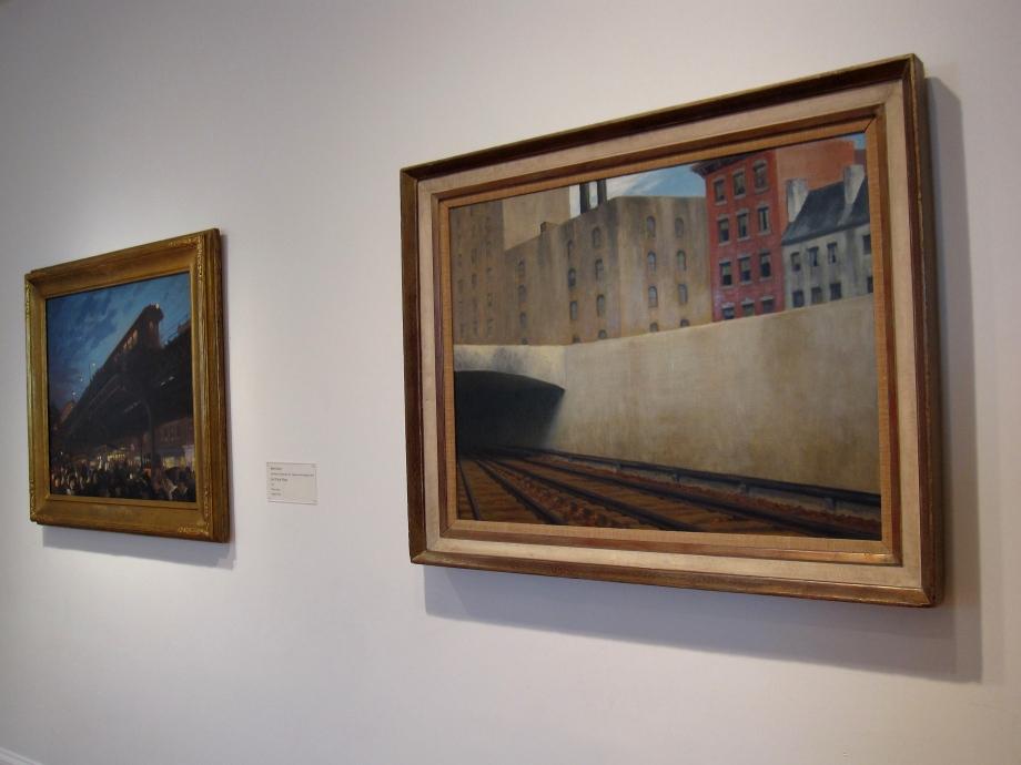 (Left) John Sloan, Six O'Clock, Winter, 1912, Oil on canvas; 26 1/8 x 32 in.; 66.3575 x 81.28 cm.. Acquired 1922. (Right) Edward Hopper, Approaching a City, 1946, Oil on canvas; 27 1/8 x 36 in.; 68.8975 x 91.44 cm. Acquired 1947.