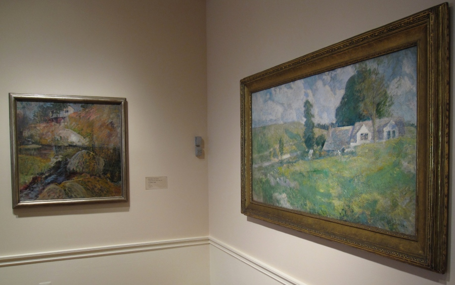 (Left) John Henry Twachtman, My Summer Studio, circa 1900, Oil on canvas; 30 1/8 x 30 1/8 in.; 76.5175 x 76.5175 cm.. Acquired 1919.