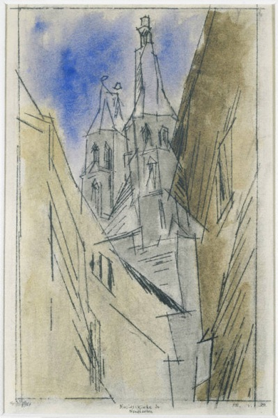 Lyonel Feininger, Blasiuskirche Nordhausen, 1932. Watercolor on paper, 17 1/2 x 12 1/4 in. The Phillips Collection, Washington, D.C.