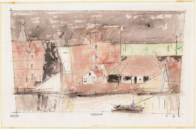 Lyonel Feininger, Waterfront, 1942. Watercolor and black ink on paper, 11 1/2 x 18 in. The Phillips Collection, Washington, D.C.