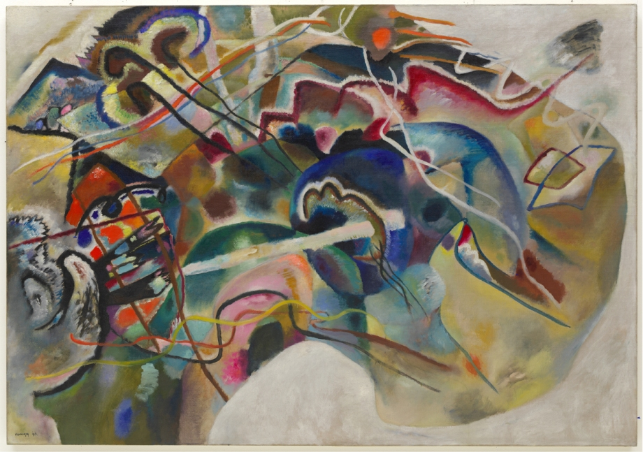 Wassily Kandinsky, Painting with White Border (Moscow), 1913. Oil on canvas, 55 1/4 x 78 7/8 in. Solomon R. Guggenheim Museum, New York, Solomon R. Guggenheim Founding Collection, By gift 37.245.  © 2011 Artists Rights Society (ARS), New York / ADAGP, Paris.