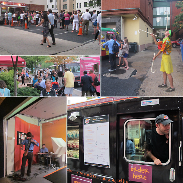 Clockwise from top left: Long lines at Red Hook Lobster Pound, Master juggler Christian Kloc at the Fojol Bros. of Merlindia truck, Juan José Quintana with his artful Rolling Ficelle sandwiches, Wytold electric cello at Hillyer Art Space, and crowds enjoying food and friends at the museum entrance next to Curbside Cupcakes. Photos by Amy Wike, Suzanne Wright, and Sarah Osborne Bender.