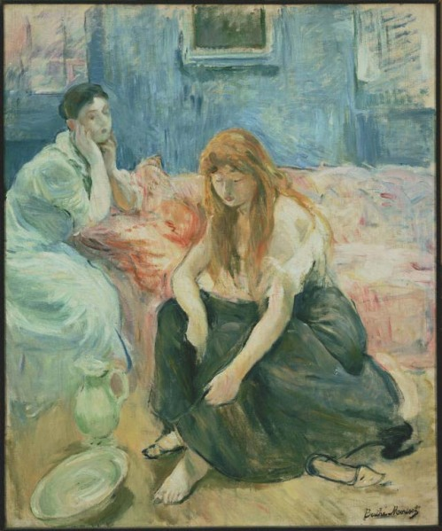 Berthe Morisot, Two Girls, c. 1894. Oil on canvas, 25 5/8 x 21 1/4 inches. Acquired 1925. Paintings, 1390, French.