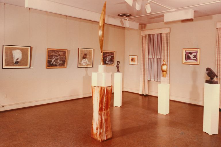 Installation shot of Birds in Contemporary Art, 1966, featuring works on the left by Morris Graves, Georges Braque's Oiseau on the right wall, and sculpture by Constantin Brancusi, Jean Arp, and Leonard Baskin. Photo from Phillips Collection Archives.
