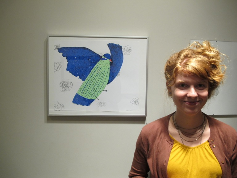 Elizabeth Graeber, with her screen print on paper, Blue Bird. Photo: Sarah Osborne Bender