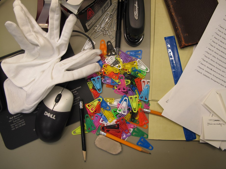 Archives assistant Colleen Hennessey's workspace. Photo by Sarah Osborne Bender