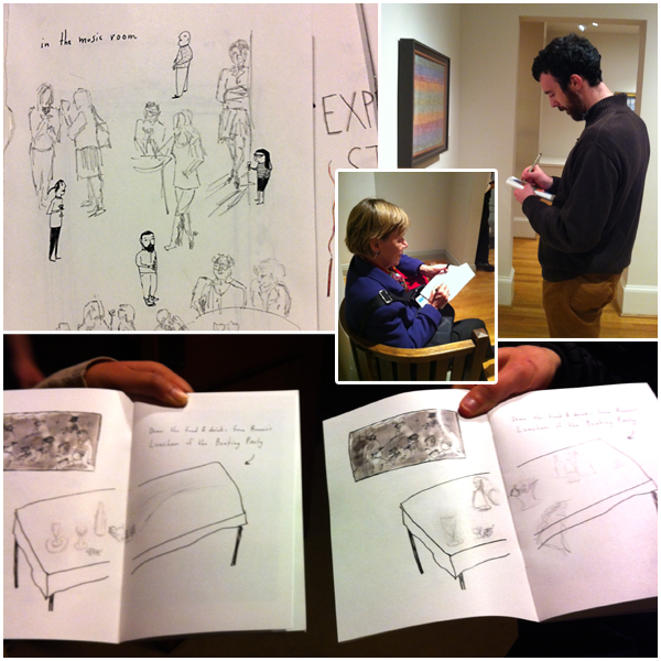 Visitors experimenting with in-gallery sketching with the help of Elizabeth Graeber's illustrated guide book. Photos by Brooke Rosenblatt.