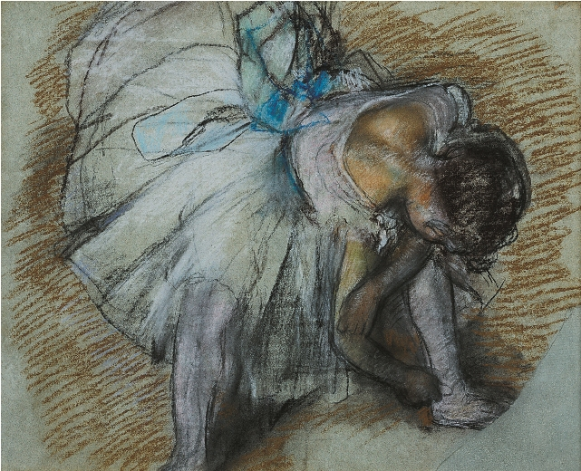 Hilaire-Germain-Edgar Degas Dancer Adjusting Her Shoe, 1885. Pastel on paper, 19 x 24 in. Collection of The Dixon Gallery and Gardens, Memphis, Tennessee; Bequest of Mr. and Mrs. Hugo N. Dixon, 1975.6.