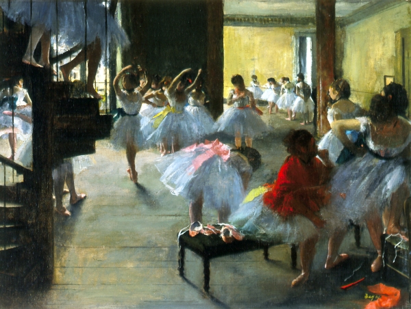 Hilaire-Germain-Edgar Degas The Dance Class, c. 1873. Oil on canvas, 18 3/4 x 24 1/2 in. Corcoran Gallery of Art, Washington, D.C., William A. Clark Collection.