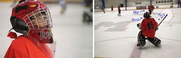 (Left) The helmet in use. (Right) The author taking a shot on the goalie Avery Eng with featured mask. Photo courtesy of Jacqueline Warner.