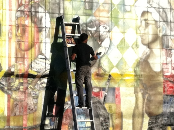 A mural being painted in the Wynwood district of Miami. Photo courtesy of Amanda Jiron-Murphy.